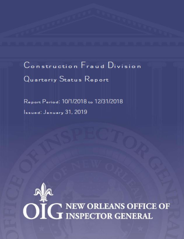 Construction Fraud Quart Report Coverd DEC 2018